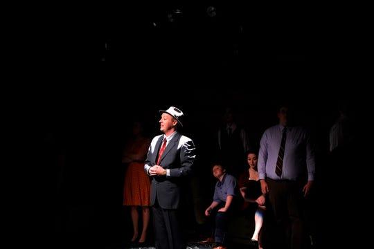 "Eli Cunningham as J. Robert Oppenheimer in ""Oppenheimer"" at Springfield Contemporary Theatre."