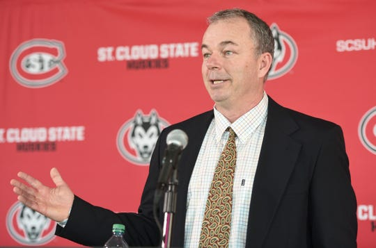 St. Cloud State men's soccer coach Sean Holmes speaks at his introductory press conference Wednesday, Feb. 19, 2020, at the Herb Brooks National Hockey Center.