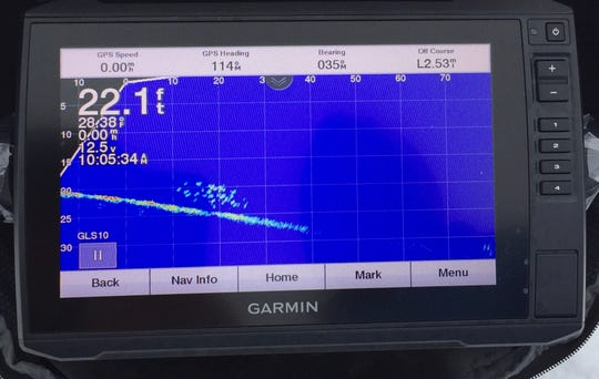 A school of crappies is clearly visible on this forward-looking LiveScope screen.
