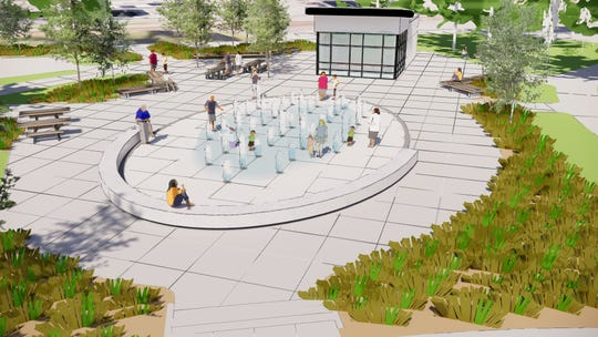This rendering from landscape architects Confluence shows the layout of the splash pad planned for Lions Park in Sauk Rapids.