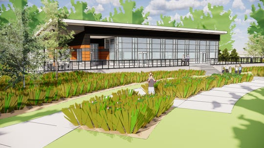 This rendering from Confluence landscape architects shows the side of the planned event building that faces the Mississippi river at Southside Park in Sauk Rapids.