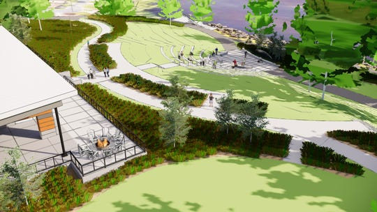 This rendering from landscape architects Confluence shows the amphitheater planned for Southside Park in Sauk Rapids