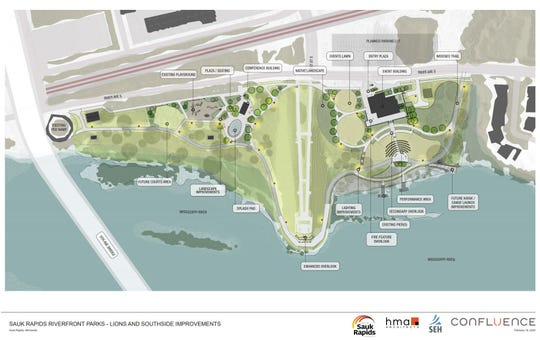 This plan from Confluence landscape architects shows the final layout of the Lions Park and Southside Park rennovations approved by the Sauk Rapids City Council Wednesday, Feb. 19, 2020.