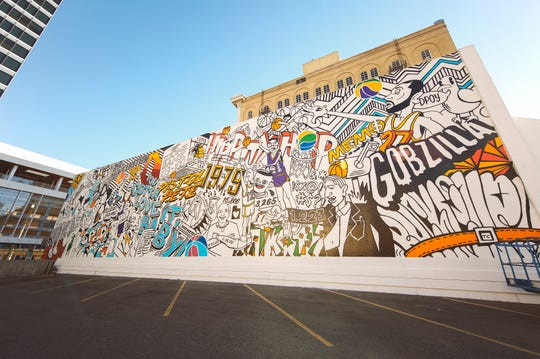 A Utah Jazz mural, painted by artist Trent Call, on 100 South and Main Street in Salt Lake City that celebrates 40 years of Jazz history.