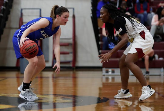 Master's Academy senior guard Ryleigh Calcutt dribbles up court as Florida High's girls basketball team fell 74-67 to Oviedo Master's Academy in a Region 1-3A semifinal on Feb. 18, 2020.