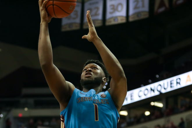 Florida State Seminoles forward RaiQuan Gray (1) shoots during a game between FSU and Pittsburgh at the Donald L. Tucker Civic Center Tuesday, Feb. 18, 2020.