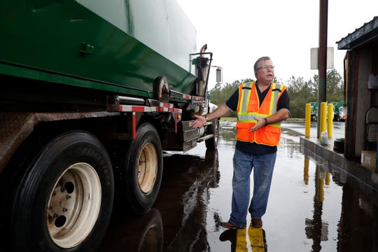 Todd Mitchell, division manager at Waste Pro in Tallahassee, shares what parts of each garbage truck are checked each morning before they are sent out and each afternoon when they arrive back to the facility. This is done to make sure each truck is in great condition and to make any repairs if necessary.