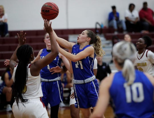 Master's Academy freshman guard Kiara Harris goes up for a layup as Florida High's girls basketball team fell 74-67 to Oviedo Master's Academy in a Region 1-3A semifinal on Feb. 18, 2020.