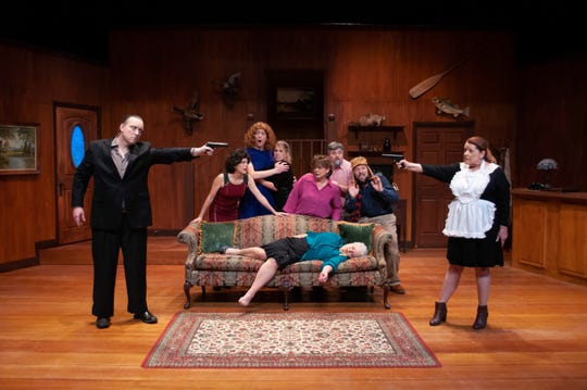 "Mobster, meet the ""maid"": (from left): Mattie Ward, Erika Stone, Tom Sheehan, Maddie Mahood, Debi Brigman, Scott Mock, M. Derek Nieves, Lenoir Brewer (on sofa), and Debbie Frost at FSU's Mainstage."