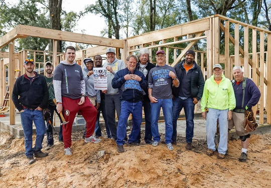 """Bobby Mac and Greg Tish of Real Talk, Tommy Brown, Richard Bevis and Dickie Hosford of Tom & The Cats and Antoine Wright of Habitat of Humanity of the Big Bend. Saturday's """"Rock On"""" concert raises money for the Habitat for Humanity."""