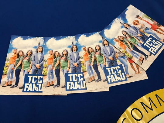 Florida A&M recruiting brochures on display Wednesday at Tallahase Community College