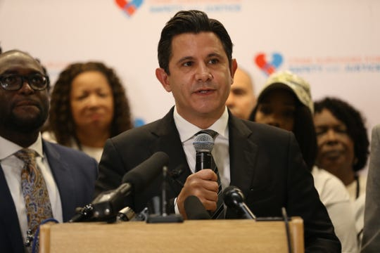 Sen. Jason Pizzo speaks during a press conference held during the 3rd annual Survivors Speak rally at the Capitol Wednesday, Feb. 19, 2020.