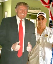 Port St. Lucie resident Nelson Gibson tried to take this life-sized cutout of President Donald Trump to his dialysis appointment Feb. 11 but said staff refused to let him bring it in.