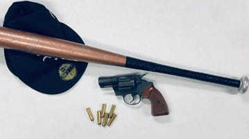 Oxnard police seized these items after receiving a report of gang members possibly involved in a fight in the west alley of Perkins Road south of Clara St.