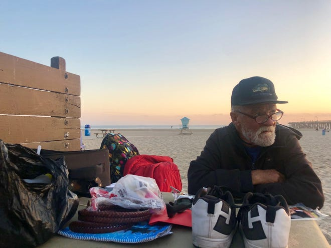 Jefferey Noon has spent most nights at Hueneme Beach over the past few months. Port Hueneme is considering a ban on camping and sleeping overnight at the beach.