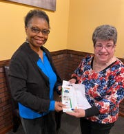 Dorothy Marketto (right), international director for Omie's Home for Children and Beyond, Inc., a local organization that built and operates an orphanage in Secunderabad, India, recently gave a presentation to members of Zonta Club of Cumberland County. She is pictured with club member Dr. Sonia Burgher.