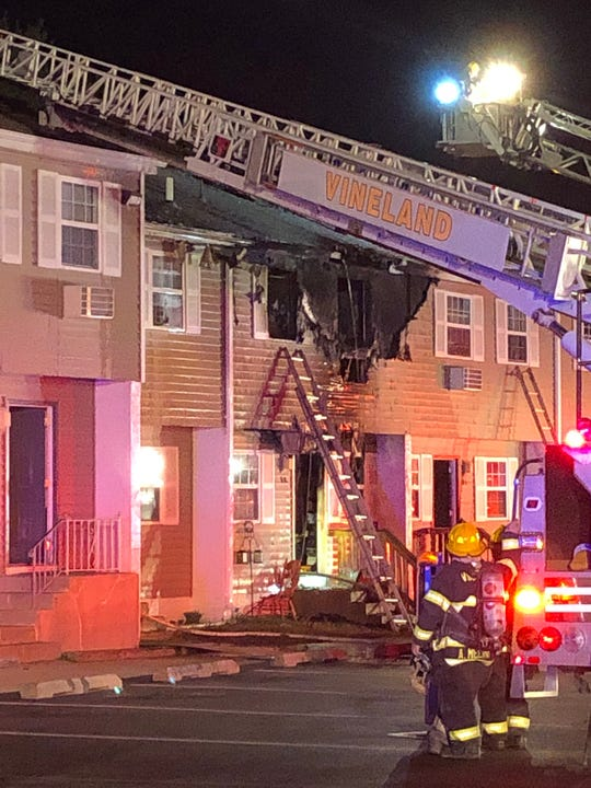 Vineland firefighters battled a two-alarm fire at the Walnut Manor apartment complex on East Walnut Road.