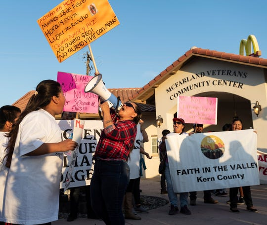 Protestors gather at McFarland Veterans Community Center and Council Chambers on Tuesday, February 18, 2020. They oppose a plan that would convert two state prison facilities into for-profit immigration detention centers. The planning commission met later that day to hear comment before voting on the matter.