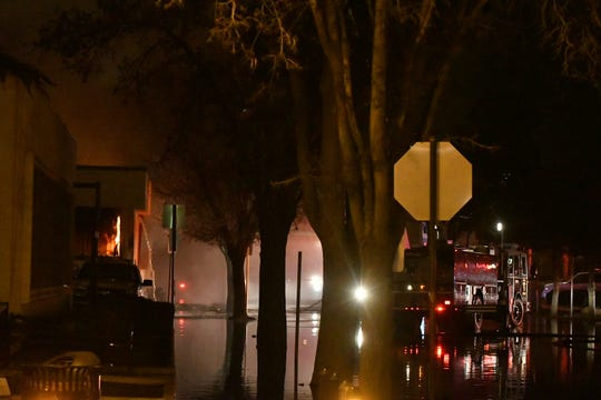 Multiple agencies responded to a large fire at Porterville Public Library on Tuesday, February 18, 2020.