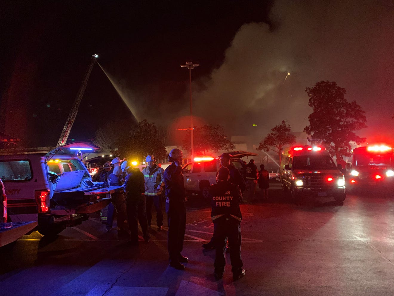 California library fire kills at least one firefighter
