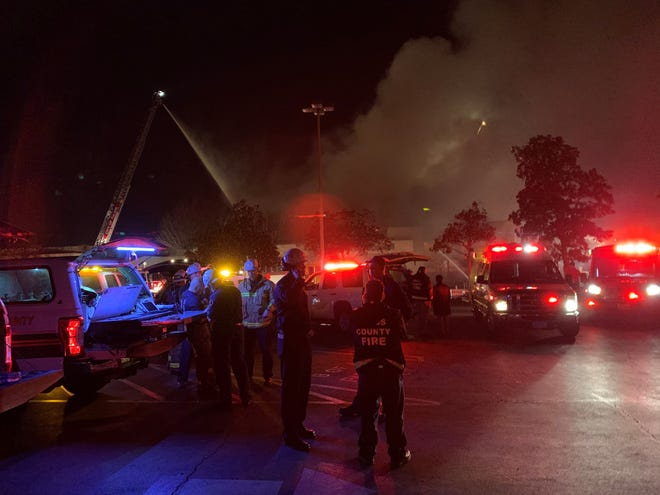 """A """"large fire"""" consumed the Porterville Library Tuesday evening."""