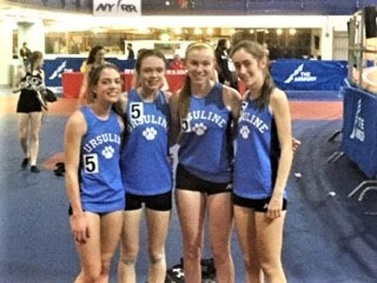 (L-R) Daphne Banino, Haley McLean, Casey Conroy and Claire Wilson after qualifying Saturday to compete in the top distance medley relay division at next month's New Balance Indoor Nationals