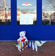 A memorial to Sandra Wilson was seen outside the Finkelstein Memorial Library in Spring Valley, where Wilson was stabbed to death on Feb. 18, 2020.