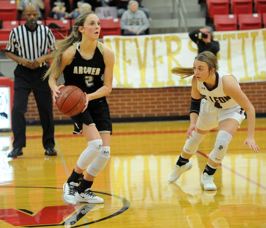 Archer City's Mallory Maxwell looks to pass while defended by De Leon's Kenadi McGrath in a Region II-2A bi-district matchup in Mineral Wells on Tuesday, Feb. 18, 2020.