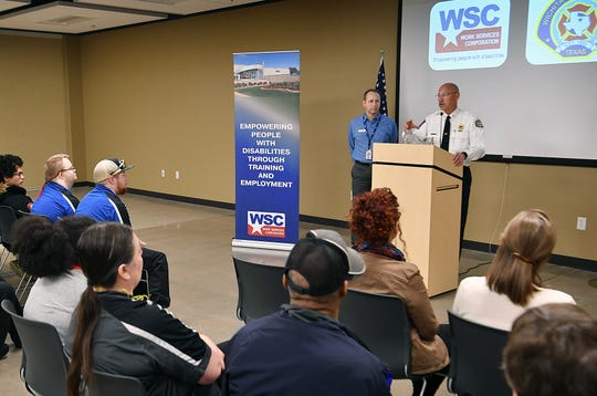Wichita Falls Fire Chief Ken Prillaman, right, and David Toogood of Work Services Corporation announced Wednesday that WSC employees would begin painting the 2,800 fire hydrants of the city.
