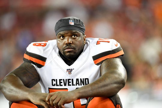 Cleveland Browns offensive tackle Greg Robinson (78) looks on during the second half against the Tampa Bay Buccaneers at Raymond James Stadium.