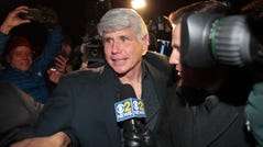 Former Illinois Gov. Rod Blagojevich arrives home from prison after his sentence was commuted by President Donald Trump on Tuesday.