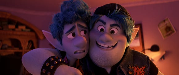 "Ian (voiced by Tom Holland, left) and Barley (Chris Pratt) go on an epic quest in the Pixar animated fantasy ""Onward."""