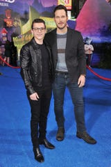 """Tom Holland and Chris Pratt, who play brother Ian and Barley Lightfoot in """"Onward,"""" attend the Pixar film's world premiere in Hollywood on Tuesday."""