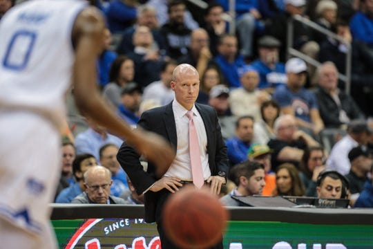 Seton Hall Pirates head coach Kevin Willard looks on during the first half against the Butler Bulldogs at Prudential Center.