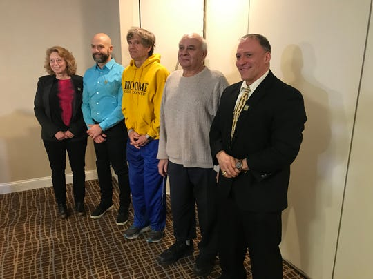 Inductees present Thursday (left to right): Bridgette Hobart Janeczko, Dan Kosick, Tom Carter, Gus Lampo and Bill Clark.