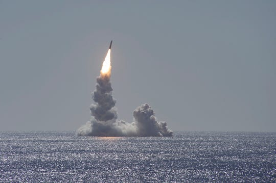 An unarmed Trident II (D5LE) missile launches from the Ohio-class ballistic missile submarine USS Maine off the coast of San Diego, California, Feb. 12, 2020. (U.S. Navy photo by Mass Communication Specialist 2nd Class Thomas Gooley/Released)