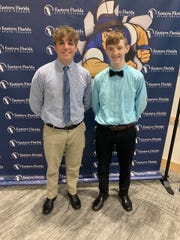"""Justin Grove and Corey Winthrop, from the Viera High School Business Academy, will present """"SafeSchool,"""" an impenetrable dual locking mechanism designed to protect classrooms in the event of a school shooter."""