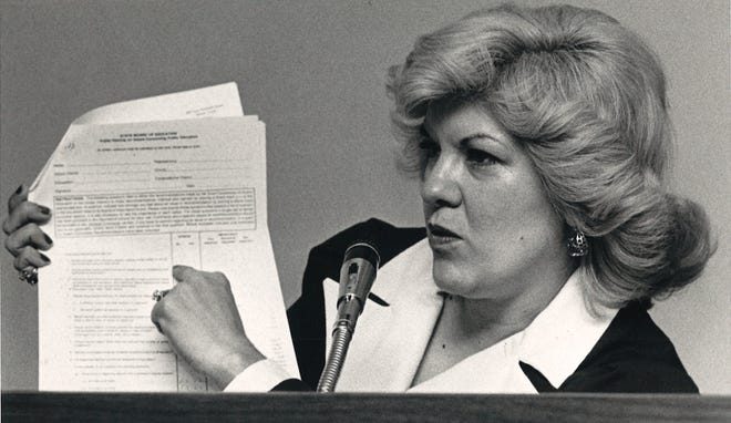 State Board of Education member Mary Helen Berlanga at a hearing on education reform on May 15, 1984.
