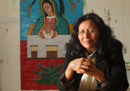 Award-winning artist Santa Barraza is a local Chicana muralist and professor at Texas A&M University-Kingsville. In 2014 she was awarded the Lifetime Achievement Award in Visual Arts from the Mexic-Arte Museum.