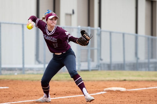 Calallen's Myranda Menn throws the ball to first to make an out during the their game against Rockport-Fulton at Calallen High School on Thursday, Feb. 20, 2020.