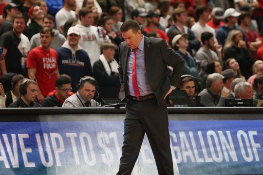 Feb 19, 2020; Lubbock, Texas, USA;  Texas Tech Red Raiders head coach Chris Beard on the sidelines in the first half during the game against the Kansas State Wildcats at United Supermarkets Arena. Mandatory Credit: Michael C. Johnson-USA TODAY Sports