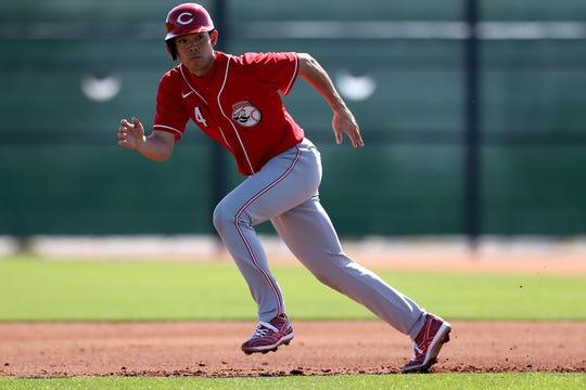 Cincinnati Reds center fielder Shogo Akiyama (4) runs during live batting practice, Wednesday, Feb. 19, 2020, at the baseball team's spring training facility in Goodyear, Ariz.