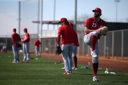 Cincinnati Reds pitcher Cody Reed (23) throws during drills, Wednesday, Feb. 19, 2020, at the baseball team's spring training facility in Goodyear, Ariz.