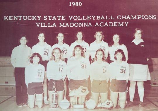 The Villa Madonna Academy 1980 Kentucky state volleyball champions are, from left: Front, Debbie Warner, captain Fredda Simpson, Lori Erpenbeck, Lisa Warman, Stephanie Scheper; back, coach Carla Austin, Julie Coleman, Polly Rippe, Jill Scheper, Janie Scheper, Monica Barnes and scorekeeper Diane Enzweiler