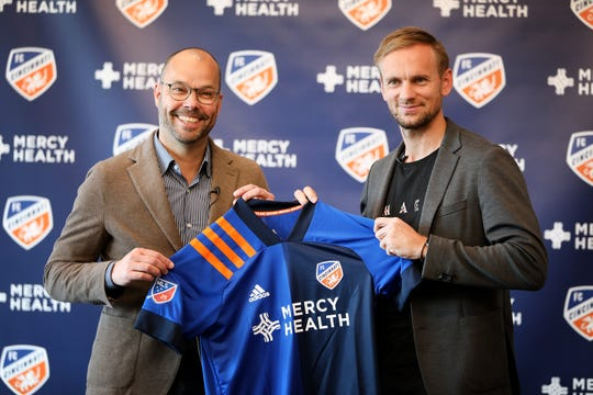 FC Cincinnati General Manager Gerard Nijkamp introduced the clubÕs newest signing, Siem de Jong, at a morning press conference at the Mercy Health Training Center, in Milford, on Thursday, Feb. 20.