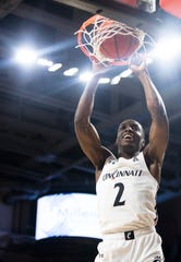 Cincinnati Bearcats guard Keith Williams (2) dunks in the first half of the NCAA men's basketball game on Wednesday, Feb. 19, 2020, at Fifth Third Arena in Clifton.
