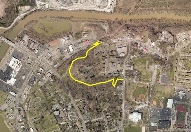 A satellite view of the extension of the Clarksville Greenway to Austin Peay State University. The Red River is to the north, and the Greenway is shown circling around the front of Emerald Hill.