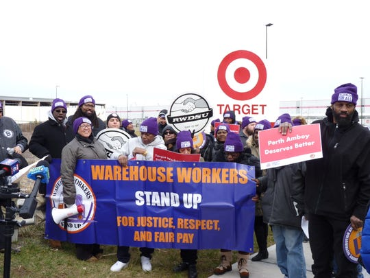 Current and former employees of the Target warehouse in Perth Amboy met with city and union officials on Thursday, Feb. 20 to push for unionization with SEIU and better working conditions at the facility and across the company.