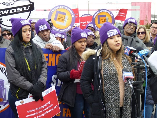 From left, current and former employees of the Perth Amboy Target warehouse Anna, Esmeralda and Carmen, in Perth Amboy rallying with city and union officials on Thursday, Feb. 20 to push for unionization with SEIU and better working conditions at the facility and across the company.