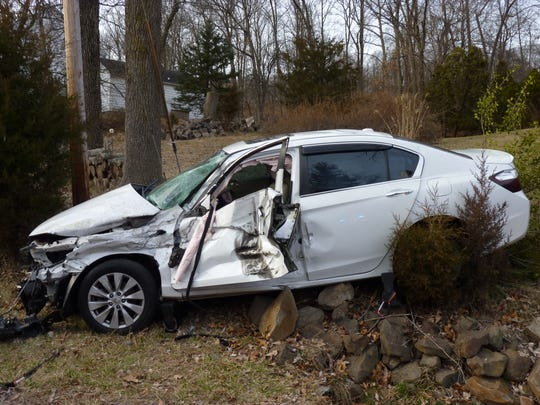 A car involved in a crash on Washington Valley Road in Bridgewater on Thursday.